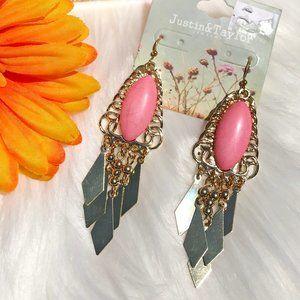 Boho Earrings Tassel Bead Dangles Pink Turquoise